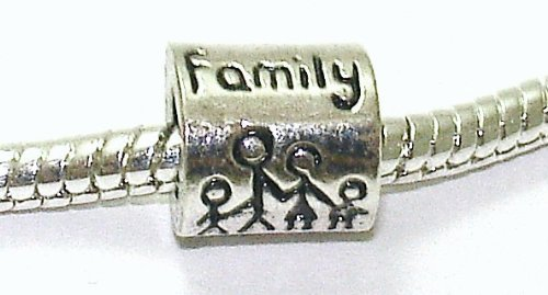 'Family' Spacer - Silver Plated Charm Bead - fits Pandora, Chamilia et