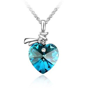 Blue Crystal Heart Pendant Necklace