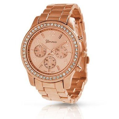 Bling Jewelry Geneva Rose Gold Plated Classic Round CZ Ladies Boyfrien