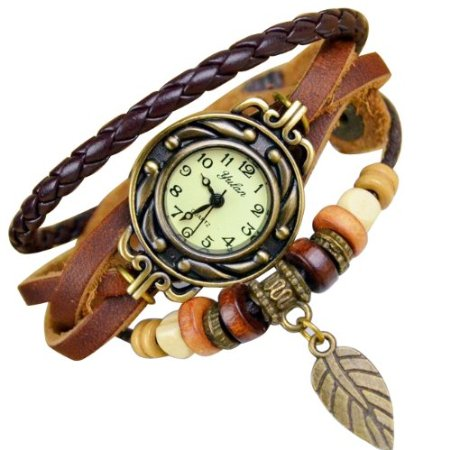 chinkyboo 4 Colors Quartz Cool Weave Wrap Around Leather Bracelet Lady