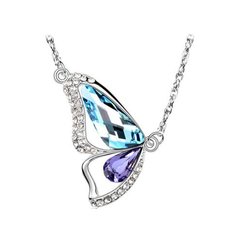 Butterfly Breaking Cocoon Pendant Necklace with Swarovski Crystal