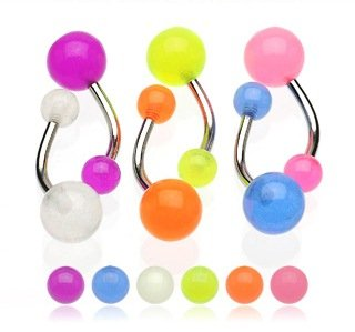 6 x Glow in the dark Ball Belly bars