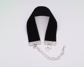 Classic Gothic Emo Plain Black Velvet 16mm Choker Necklace Chain with