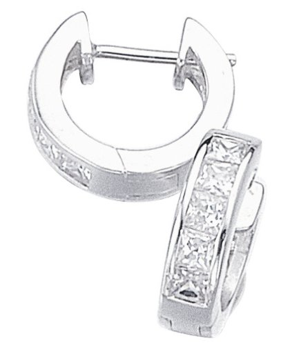 Elements Sterling Silver Ladies' E266C Channel Set Square Cubic Zircon